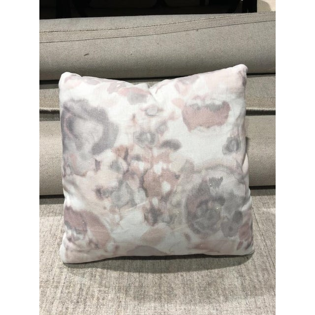 The Style B2 throw pillow is a first quality showroom sample that features a patterned fabric with welted corners and a...