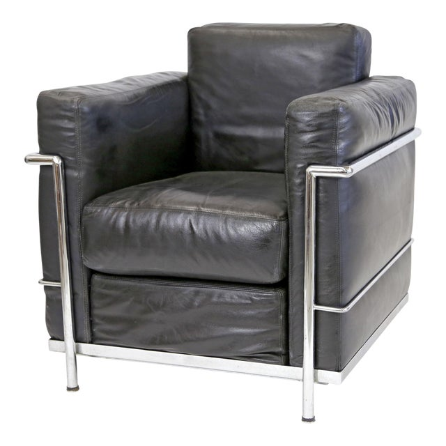 Vintage Le Corbusier Style Black Leather Club Chair From Jfk Concorde Room For Sale