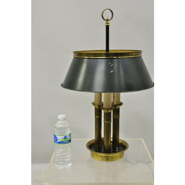 Vintage Green Tole French Empire Brass 3 Light Desk Bouillotte Table Lamp For Sale - Image 10 of 11