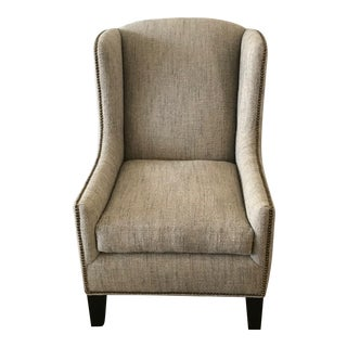 1960s Vintage Mark Alexander Linen Fabric Wingback Chair For Sale