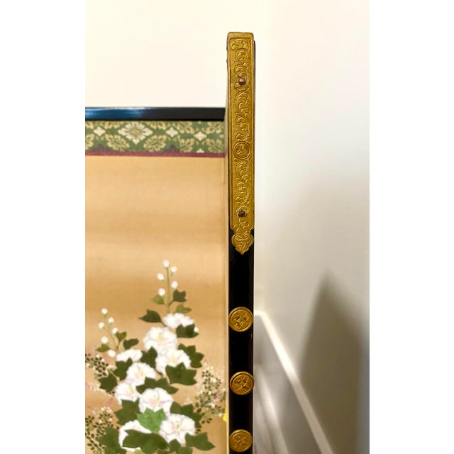 Metal 19th Century Japanese Byobu 6-Panel Table Screen With Summer Flowers For Sale - Image 7 of 13