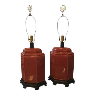 Vintage Orange Oriental Brass Ceramic Chinoiserie Table Lamps - a Pair