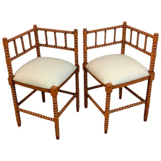 Pair of Antique French Stick and Ball Corner Chairs With Coral Polychrome For Sale