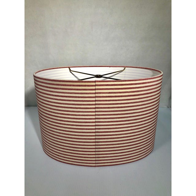 2010s Heath & Co Custom Red and White Lamp Shade For Sale - Image 5 of 7