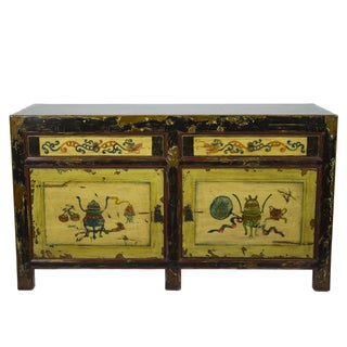 Vintage Painted Chinese Motif Sideboard For Sale