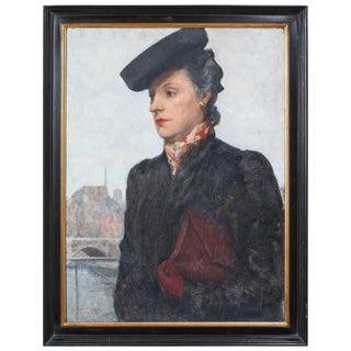 Portrait of Parisian Woman in Black Hat Painting by C.P. Bernardo For Sale