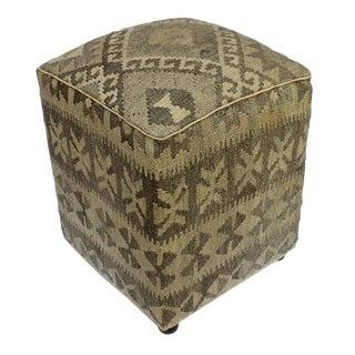 Arshs Danika Tan/Gray Kilim Upholstered Handmade Ottoman For Sale