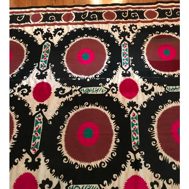 Fabric Vintage Uzbek Suzani Hand Embroidered Wall Hanging For Sale - Image 7 of 11
