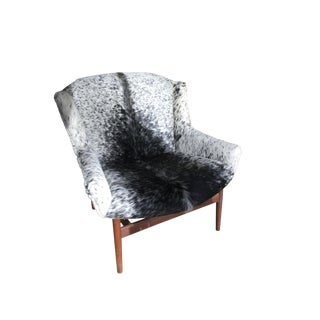Early Jens Risom Cowhide Lounge Chair For Sale
