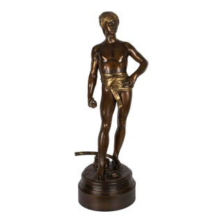 "Bronze Sculpture ""David Avant Le Combat"" by Antonin Mercie & Barbedienne For Sale"