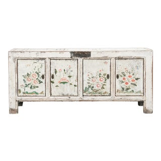 Asian Farmhouse Whitewashed Painted Sideboard For Sale