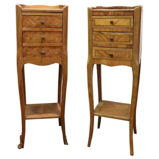 20th Century Italian Louis XV Style Inlay Wood Pair of Side Tables or Nightstand For Sale - Image 13 of 13