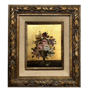 Mid-Century Still Life Bouquet of Flowers on Gold Oil Painting by Vito Ruggeri For Sale