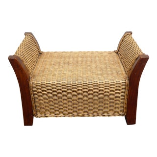 Vintage Tiki Palm Beach Style Wicker & Wood Bench For Sale