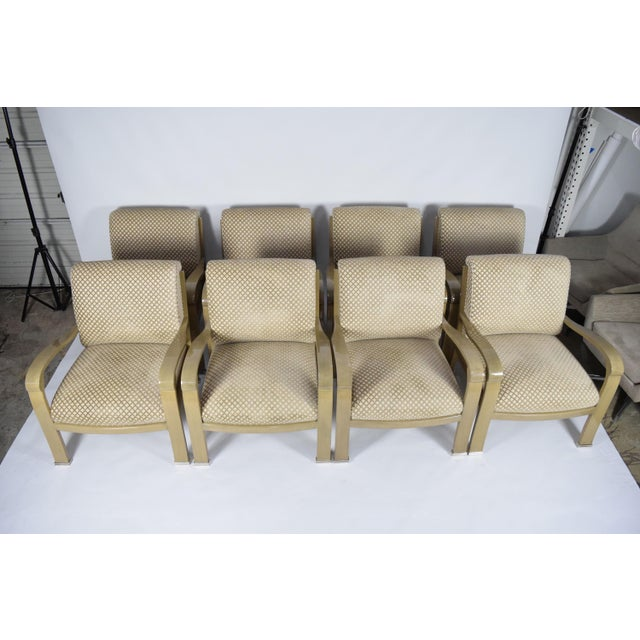 This is a gorgeous set of eight J. Robert Scott Salon deco lounge chairs by Sally Sirkin Lewis in a taupe/cream lacquered...