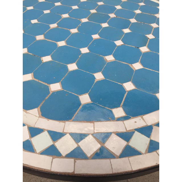 Moroccan Mosaic Outdoor Blue Tile Side Table on Low Iron Base For Sale - Image 4 of 13