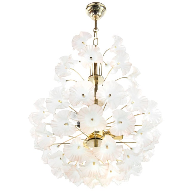 """Italy, 1950s Murano Glass and Brass """"Hibiscus"""" Chandelier For Sale"""