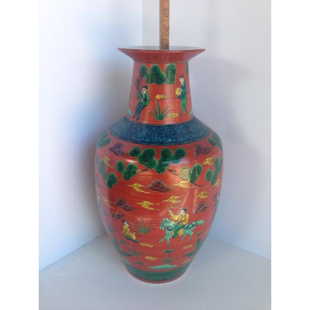 Large Chinese Motif Red Vase Chairish