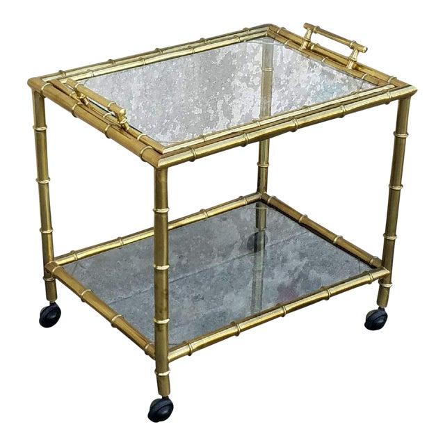 Vintage Gold Bamboo Bar Cart - Image 1 of 5