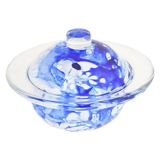 1990s Blue & White Art Glass Sculpture For Sale