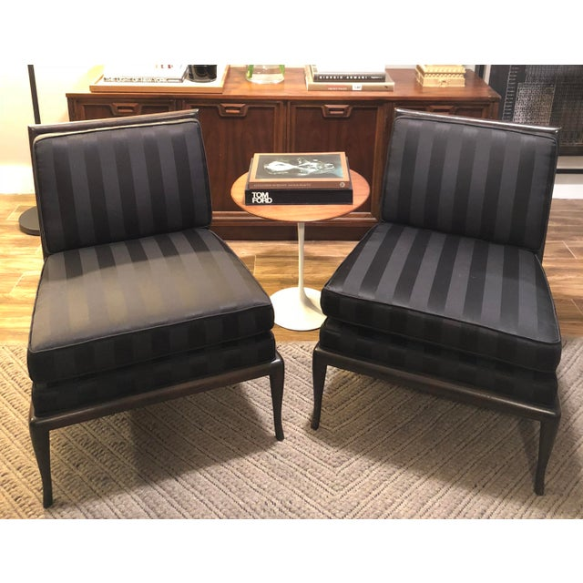 1950's Vintage T.H. Robsjohn Gibbings Armless Chairs- A Pair For Sale - Image 9 of 9