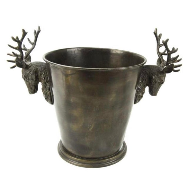 1990s Bronze Stag Horn/Deer Head Champagne Wine Bucket For Sale In New York - Image 6 of 6