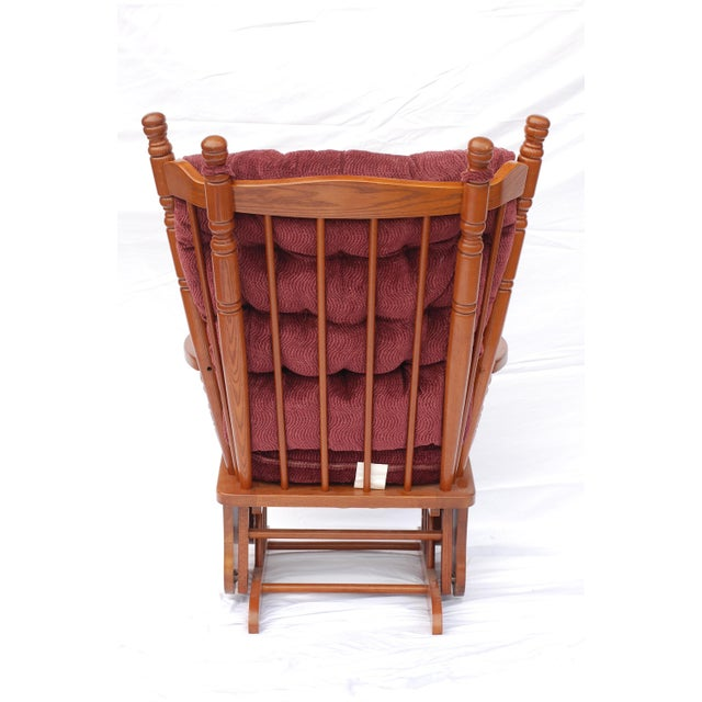 Giselle Solid Wood Glider Rocker with Burgundy Tufted Cushion - Image 2 of 11
