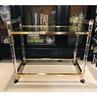 1970's Vintage Charles Hollis Jones Faux Bamboo Lucite Bar Cart Preview