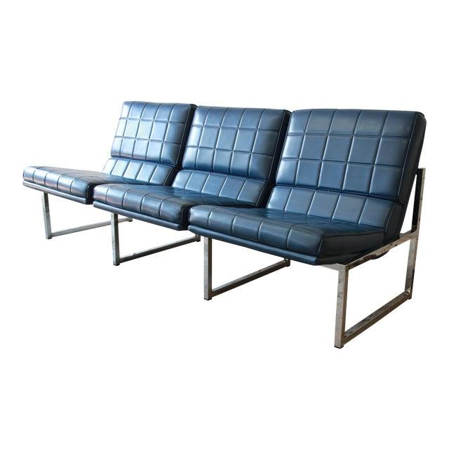 1970s Vintage Chromcraft Milo Baughman Style Three-Seat Sofa For Sale