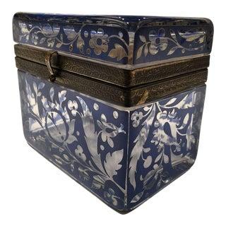 Antique Bohemian Glass Sugar Casket/ Jewelry/Vanity/Trinket Box For Sale