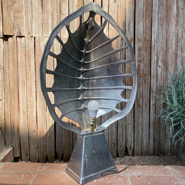 Metal 1970s Mid-Century Modern Arthur Court Aluminum Tortoise Table Lamp For Sale - Image 7 of 13