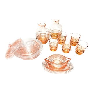 1950s Mid-Century Modern Pink Sake Serving Set of 11 For Sale