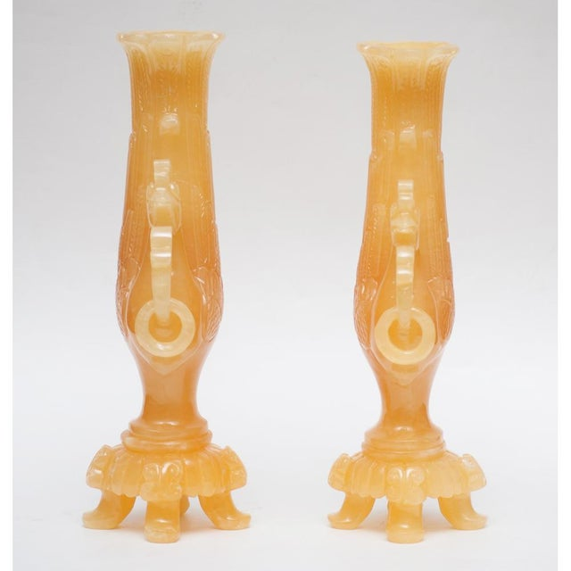 Asian Peacock Nephrite Jade Vases - A Pair For Sale - Image 3 of 10