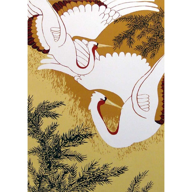 """Marcia Mancheski """"White Cranes"""" Hand Signed Limited Edition Serigraph/Silkscreen Unframed For Sale"""