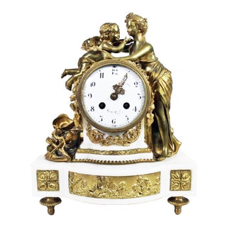 19th Century Antique French Dore' Bronze Marble Mantle Clock