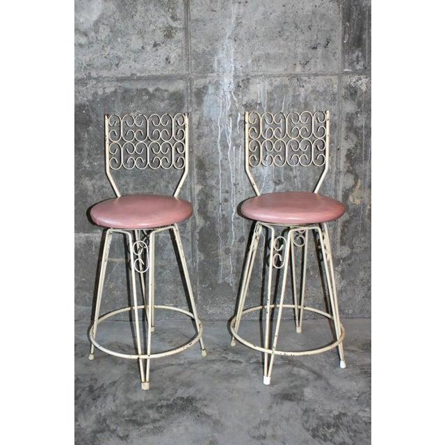 Hollywood Regency Arthur Umanoff Mid-Century Wrought Iron Bar Stools - a Pair For Sale - Image 3 of 8