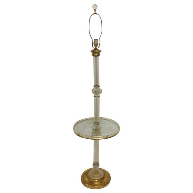 Hollywood Regency Brass & Glass Floor Lamp W/Table For Sale