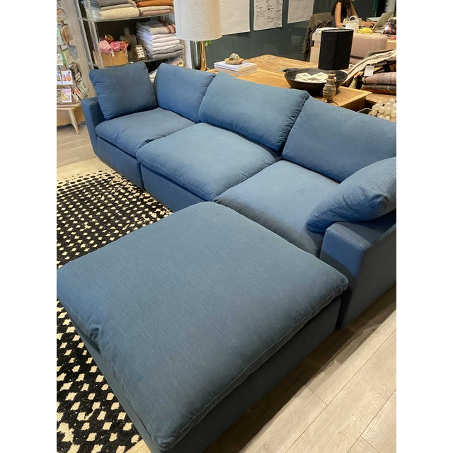 Overstuffed Blue Linen 4 Piece Sectional Sofa For Sale - Image 9 of 13