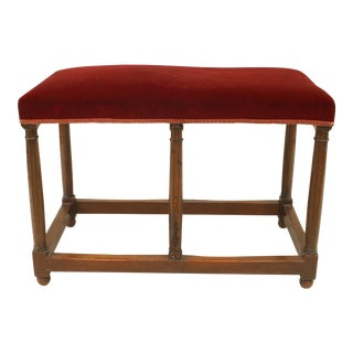 English Renaissance Red Velvet Walnut Bench For Sale