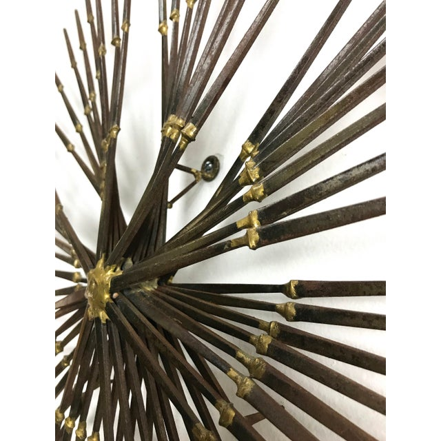 Brass 1970s Vintage Brutalist Welded Nail Starburst Wall Sculpture For Sale - Image 7 of 11