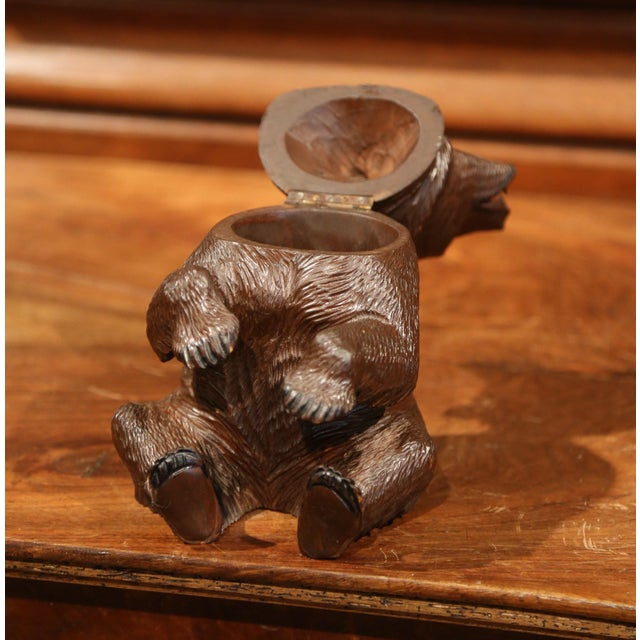 Black Forest 19th Century Swiss Carved Black Forest Tobacco Bear Sculpture With Glass Eyes For Sale - Image 3 of 11
