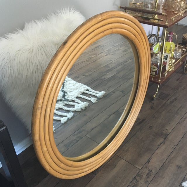 "Rattan Framed Round Mirror 30.5"" - Image 5 of 7"