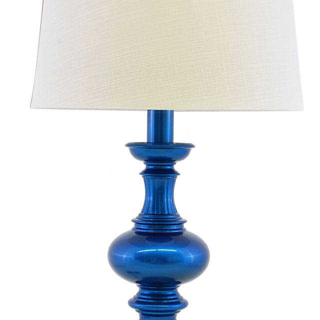 Brass Lamps in Metallic Blue Auto Paint - A Pair For Sale - Image 4 of 5