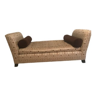 Traditional Style Brown Upholstered Bench For Sale