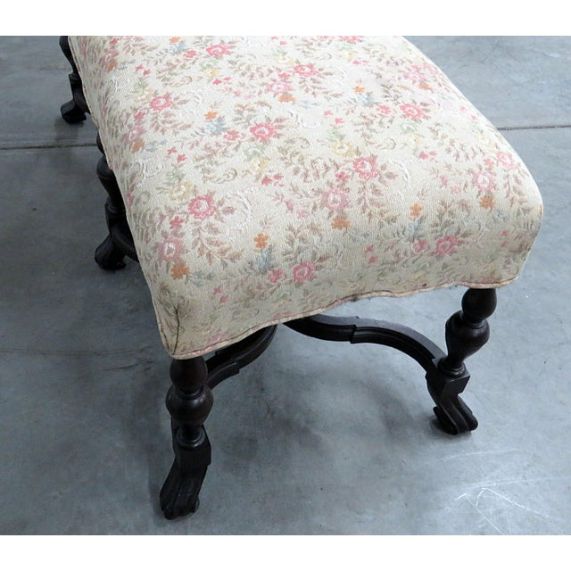 Wood Regency Style Tapestry Bench For Sale - Image 7 of 8