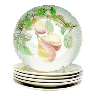St. Clement French Faience Majolica Fruit Plates - Set of 6 For Sale