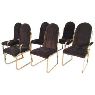 Chromcraft Dynasty Velvet Channel Back Tufted Brass Dining Chairs For Sale