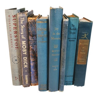 Vintage Mid Century Blue Books- Set of 8 For Sale