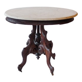 19th Century Victorian Walnut Marble Top Oval Table For Sale