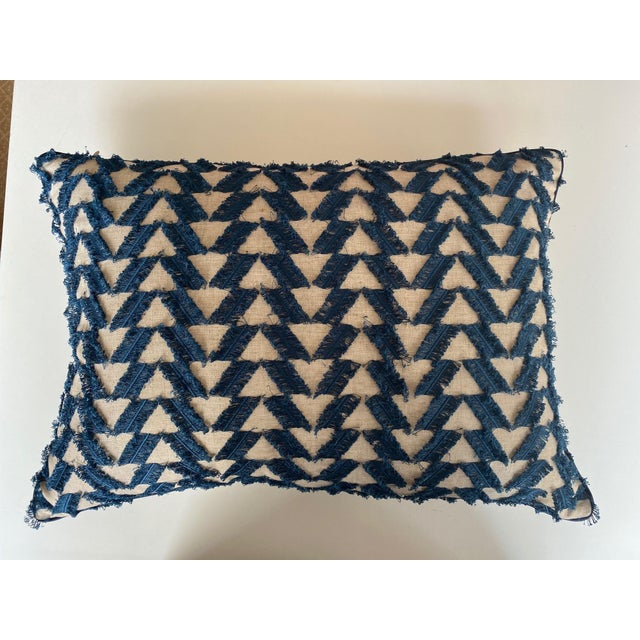 A pair of navy and woven patterned rectangular pillows. The tailored pillows are the perfect size for club chairs, a sofa...